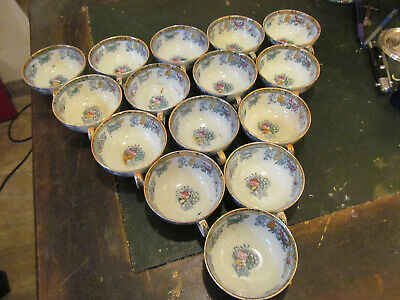 15 tasses hocolat/thé faience anglaise style chinois 1880 H et C.Hope et Cooper