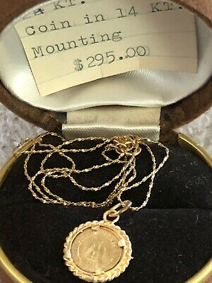1865 Mexico Imperio Mexicano Empire of Maximilian 24kt Gold Mounted 14kt Chain