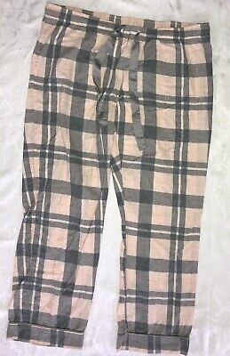 Womens Juniors Xhilaration Pink Gray Plaid Cotton Blend Sleep Pants Size XL