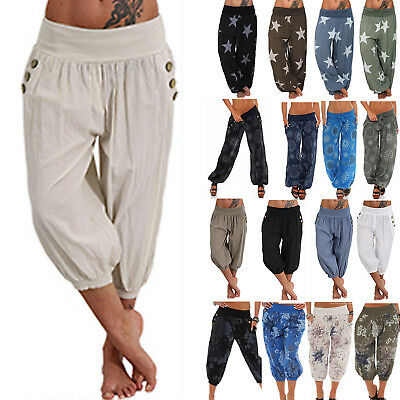 Plus size Womens Ladies Loose Floral Yoga Palazzo Trousers Summer Wide Leg Pants