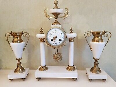 Excellent Antique French Marble & Bronze 2 Pillar Portico Mantel Clock & Urn Set