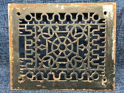 Antique Cast Iron Victorian Heat Floor Ceiling Vent Register Grate Wall