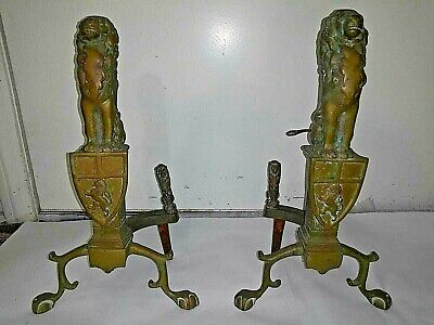Pair of Antique Fireplace Andirons with 3 Lions On Each, English Victorian? RARE