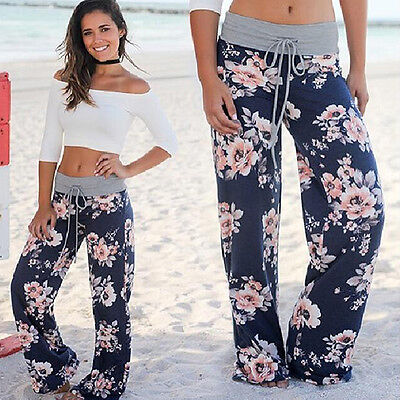 Womens Ladies Loose Floral Yoga Pants Palazzo Wide Leg Long Summer Trousers US