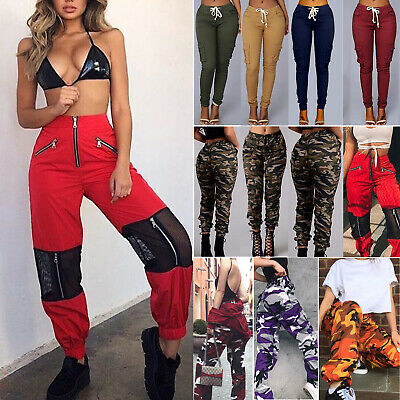 Women Ladies Cargo Trousers Casual Military Army Combat Camouflage Pants Hip Hop