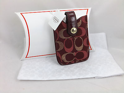 New Coach Signature Holder Case Small Electronics iPod Phone F61216 $58 Red Gold