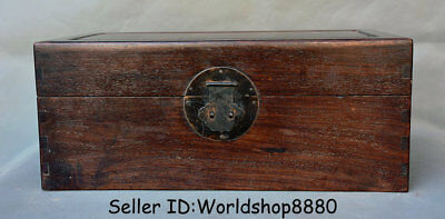 """18"""" Antique Old Chinese Huanghuali Wood Dynasty Palace Storage Box Jewelry box"""
