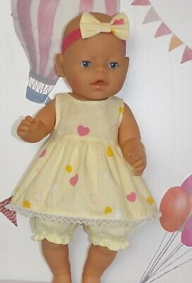 """Dolls Clothes to fit 17"""" Baby Born Lemon Top with Lace and Bloomers"""