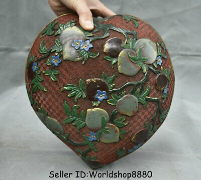 """10"""" Marked Old Chinese Qing Wood Lacquerware Painting Dynasty Peach Jewelry box"""