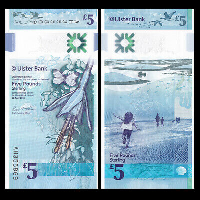 2019 2018 NORTHERN IRELAND ULSTER BANK 5 POUNDS POLYMER P-NEW UNC /> FLOWER