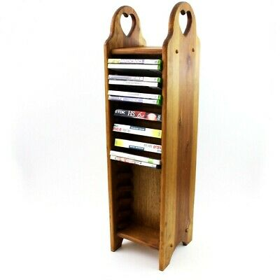 Solid Wood Media Rack 48 DVD Stand Wooden Display Two-Sided Tower