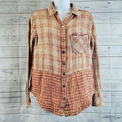 Free People Womens Top Sz Medium Red Tan Plaid Snap Buttons