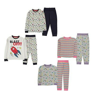2 Pack Boys Girls Crafted Nightwear Design Pyjamas Sizes Age from 2 to 8 Yrs