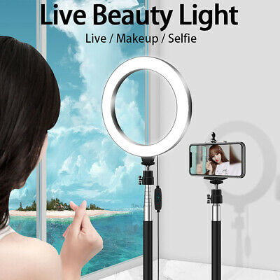 """LED Ring Light with Stand for Youtube Tiktok Makeup Video Live Phone Selfie 7.9"""""""