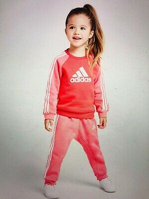 Adidas Girls Tracksuit Set Athletic Sports Logo Jogger Training ED1178 New