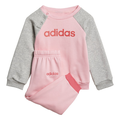 Adidas Girls Tracksuit Set Athletic Sports Logo Jogger Training EI7964 New