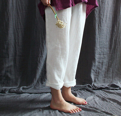 Summer Ethnic Style Lady Casual Elastic Cotton Women Pants Pockets Loose White