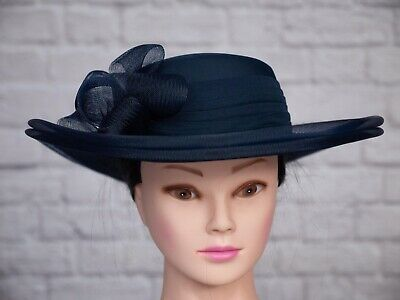 Vintage Hat Blue Pleated 1980s 80s Side Bow Goodwood Wedding Formal Victorian