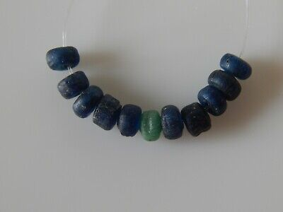 Ancient Roman Beads of Green and Blue Glass. 11 psc