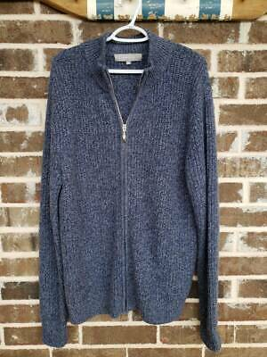 Neiman Marcus Mens Zip Up Cardigan Blue Marled Mock Neck Ribbed 100% Cashmere XL