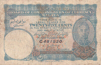 """SARAWAK 10 CENTS P25 1940 BROOKE MAP /""""A/"""" MALAYSIA CURRENCY MONEY BILL BANK NOTE"""
