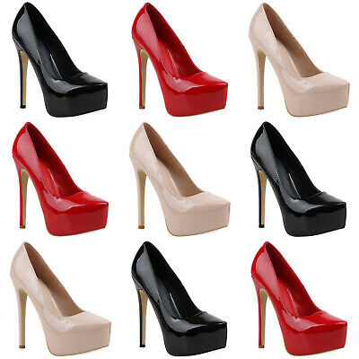 Plateaupumps Damen Abiball Stilettos Klassische Pumps Leder-Optik 817019 Schuhe