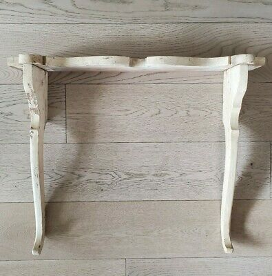 Vintage Shabby Painted Wooden Salvaged Shelf with Corbels / Wooden Brackets