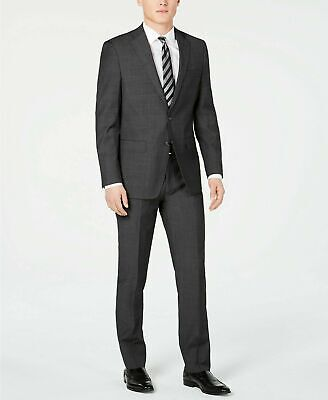 $650 Calvin Klein Men's Slim-Fit Charcoal Herringbone Suit 46R / 39W Flat Pant