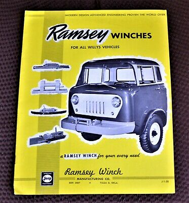 VTG 1958 Ramsey Winches For All Jeep Vehicles 12 Pg Brochure