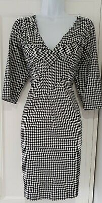 Womens Phase Eight Black White Dogtooth Check Wool Mix Stretch Shift Dress 16.