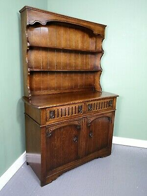 An Antique Style Solid Oak Welsh Dresser Sideboard Cabinet ~Delivery Available~