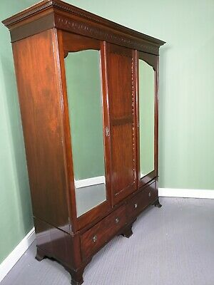 An Antique Solid Mahogany Victorian Double Wardrobe ~Delivery Available~