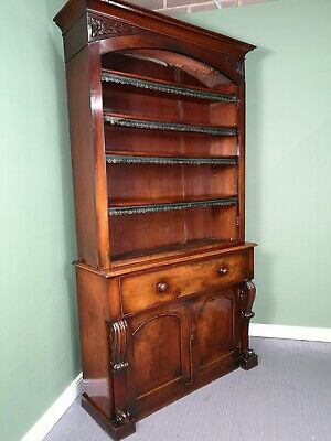 An Antique Victorian Mahogany Secretaire Bookcase Cabinet ~Delivery Available~