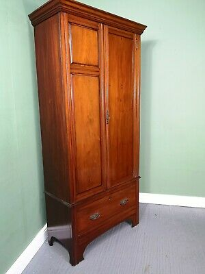 An Antique Victorian Mahogany Slim Wardrobe ~Delivery Available~
