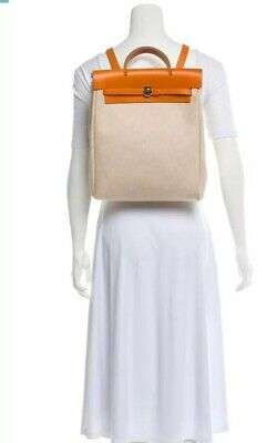 💯 Authentic HERMES HER BAG 2 in 1 Backpack Hand Bag Beige Brown Toile