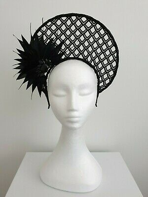 Miss Halo womens Black lace halo headband fascinator with feathers