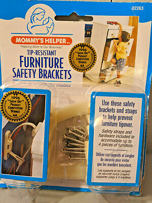 Mommy's Helper Tip Resistant Furniture Safety Brackets, New in Box