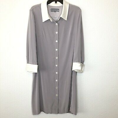 Anne Klein Women's Gray Shirtdress Career Long Sleeve Dress Sz 14 NWT No Belt