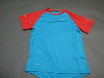 Nike Size M Girls Blue/Red Athletic Dri-Fit Short Sleeve Sportswear T-Shirt 140