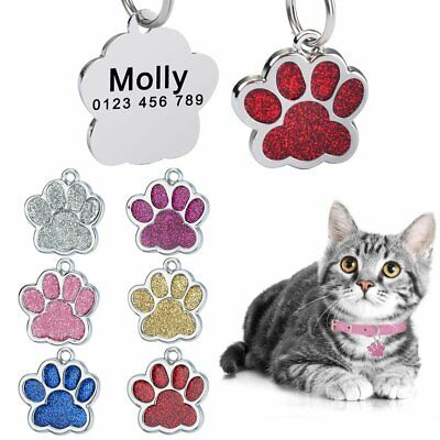Bling Glitter Paw Dog Tags Personalized Costom Engraved ID Name Phone Cat Kitten