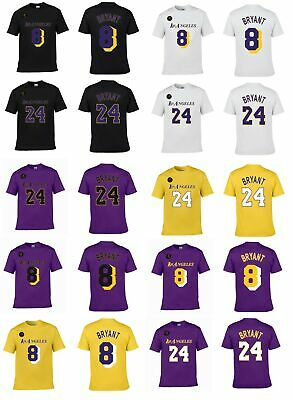 KOBE BRYANT #8 or #24 KB Patch L.A. Lakers Player Jersey 2020 CUSTOM T-Shirt