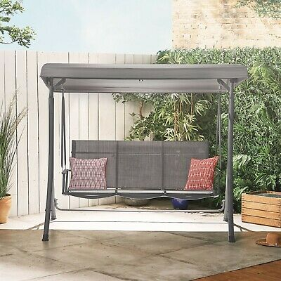 VonHaus 3 Seater Swing Seat With Canopy – Grey – Strong Steel Frame