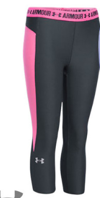 Under Armour Compression Leggings Juniors Girls Size UK Medium Pink/Grey *Ref88
