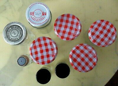 Lot of 9 Empty Clear GLASS Jam & Spice JARS Bonne Maman Red Gingham Pattern Lids