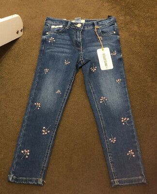 Girls Blue Floral Relaxed Skinny Jeans With Adjutable Waist From Next BNWT Age 6