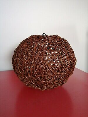 Vintage Wicker Rattan Boho Brown Woven light or  lamp shade 27cm Tall