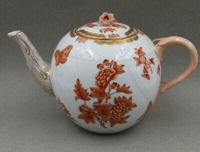 Herend Fortuna 1602 VBOH Large Teapot and Rose Finial Lid