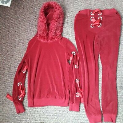 """Red Tracksuit with Ribbon Lace up detail Size Small / fit inside leg 28"""""""