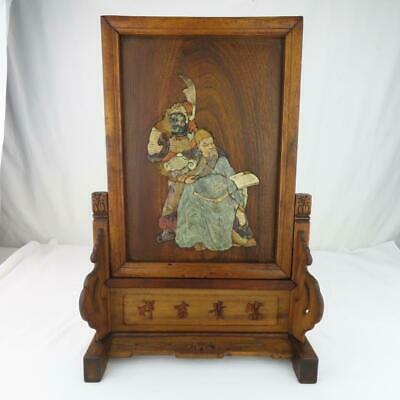 """Antique Chinese Table Screen Hardstone Carvings Scholar / Warrior Signed 10.5""""h"""