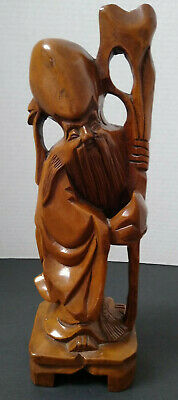 """Vtg Wooden Chinese Wise Man Hand Carved 12""""H Statue Figurin"""